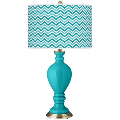 Surfer Blue Narrow Zig Zag Civitia Table Lamp