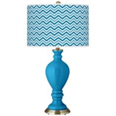 River Blue Narrow Zig Zag Civitia Table Lamp