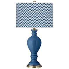 Regatta Blue Narrow Zig Zag Civitia Table Lamp