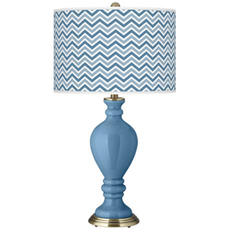 Secure Blue Narrow Zig Zag Civitia Table Lamp