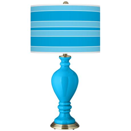 Sky Blue Bold Stripe Civitia Table Lamp