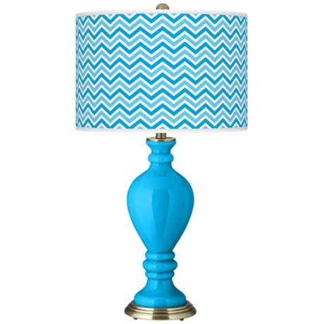 Sky Blue Narrow Zig Zag Civitia Table Lamp