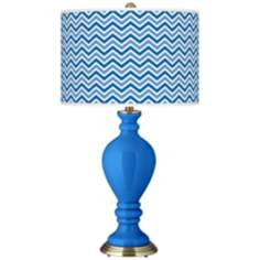 Royal Blue Narrow Zig Zag Civitia Table Lamp