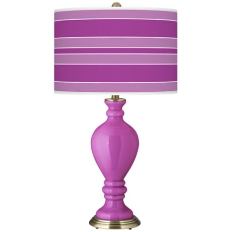 Peony Purple Bold Stripe Civitia Table Lamp