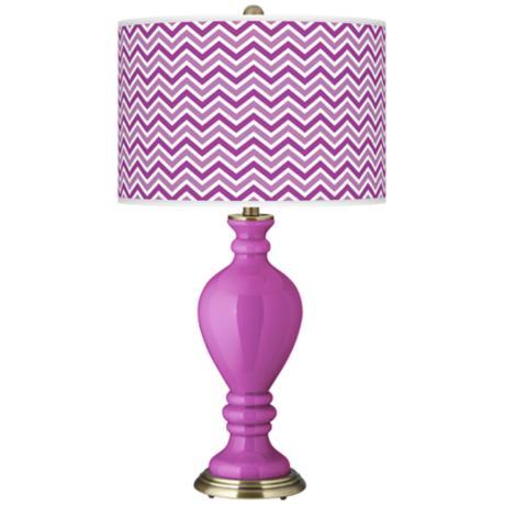 Peony Purple Narrow Zig Zag Civitia Table Lamp