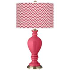 Antique Red Narrow Zig Zag Civitia Table Lamp
