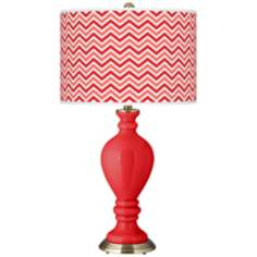 Poppy Red Narrow Zig Zag Civitia Table Lamp