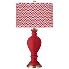 Ribbon Red Narrow Zig Zag Civitia Table Lamp