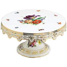 Floral and Gold Porcelain Cake Stand