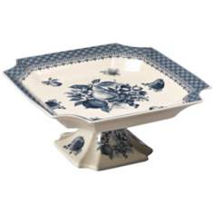 Blue Porcelain Square Pedestal Tray