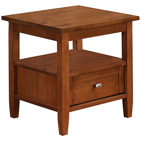 Warm Shaker End Table with Single Drawer