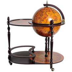 Mahogany Red Globe Drink Trolley