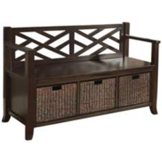 Adrien Espresso Brown Entryway Bench