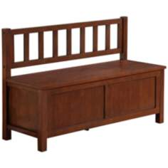 Artisan Medium Brown Auburn Pine Wood Entryway Bench