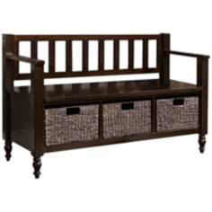 Dakota Dark Exeter Brown Wood Entryway Bench
