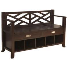 Sea Mills Espresso Brown Wood Entryway Bench