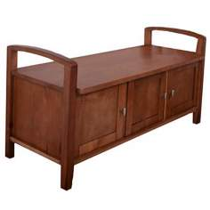 Warm Shaker Honey Brown Wood Entryway Bench