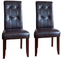 Set of 2 Cosmopolitan Deluxe Tufted Parsons Dining Chairs