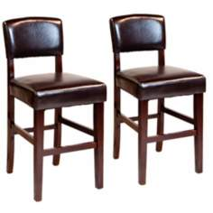 "Set of 2 Avalon 24"" High Faux Leather Counter Stools"