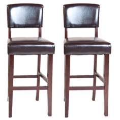 "Set of 2 Avalon 29"" High Faux Leather Bar Stools"