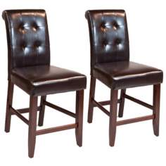 Set of 2 Cosmopolitan Tufted Espresso Counter Stools
