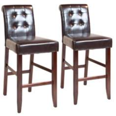 "Set of 2 Cosmopolitan 29"" High Tufted Bar Stools"