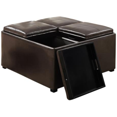 Avalon Brown 4 Tray Faux Leather Coffee Table Ottoman Y6549 Www