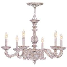 "Sutton 28"" Wide Antique White and Gold Chandelier"