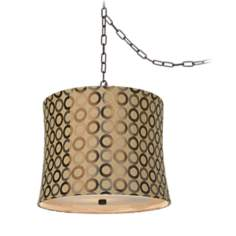 "Dyer Bronze 14"" Wide Copper Circles Shade Chandelier"