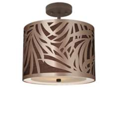 "Triopical Drum 13 1/2"" Wide Bronze Ceiling Light"