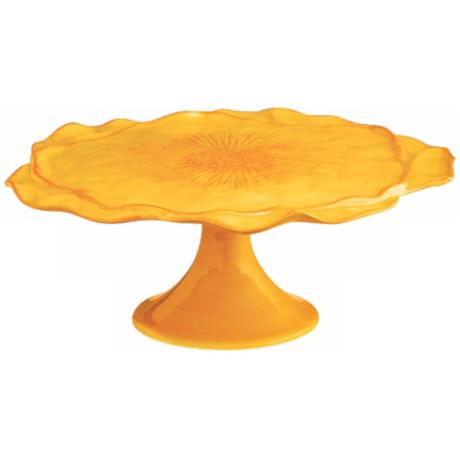 Large Petal Sunflower Yellow Earthenware Cake Plate