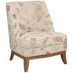 Postal Stamp Armless Accent Chair