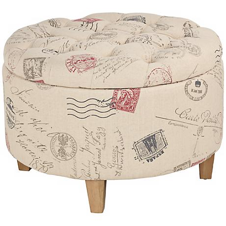 Postal Stamp Button Tufted Ottoman