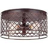 "Lattice Vintage Style 16"" Wide Bronze Ceiling Light"