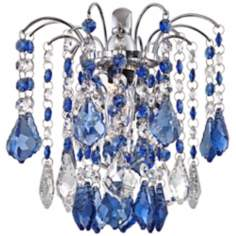 "Nicolli Blue Crystal 10"" High Chrome Wall Sconce"