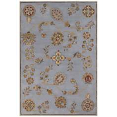 Dynasty 9108 Beijing Garden Steel Blue Area Rug