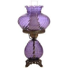Grape Swirl Optic Shade Night Light Hurricane Table Lamp
