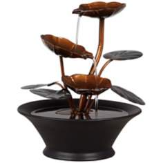 Metal Flowers and Leaves Indoor Table Fountain