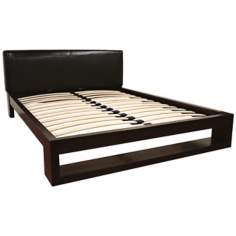 Englebert Queen Dark Brown Bicast Leather Bed