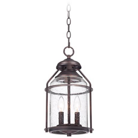 "Industrial 16 1/4"" High Bronze Outdoor Hanging Light"