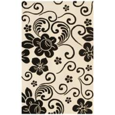 Floral Collection 5806 White/Black Area Rug