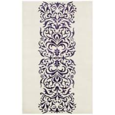 Amber Collection 709 Ivory and Purple Area Rug