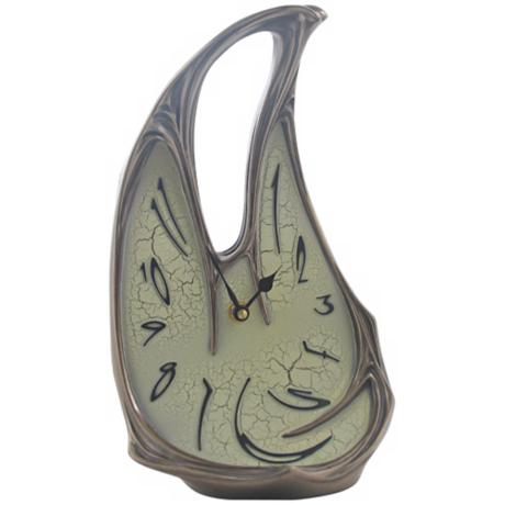 Melting Open Top Art Nouveau Bronze Clock