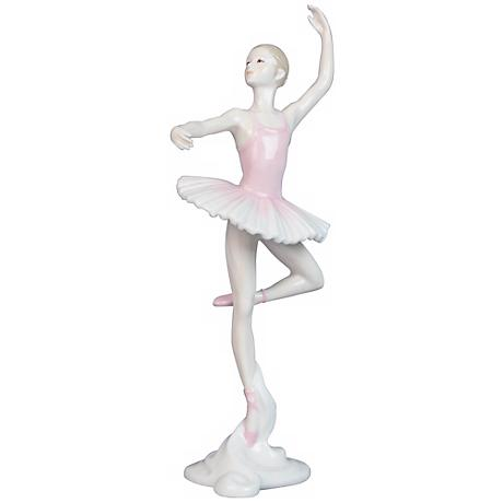 "Porcelain Pink 10 1/2"" High Ballerina Figurine"