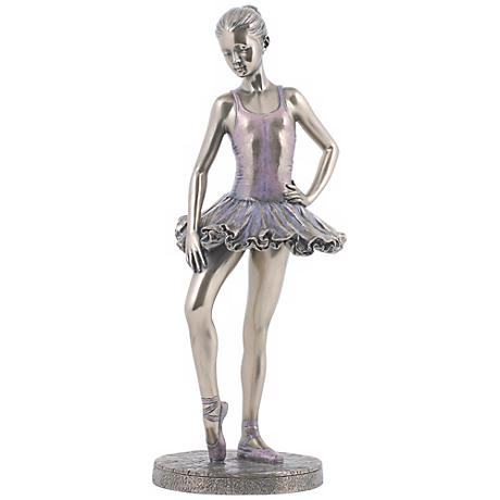 "Final Check Bronze 10 1/4"" High Ballerina Figurine"