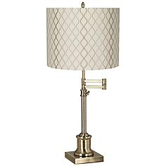 Westbury Embroidered Hourglass Brass Swing Arm Desk Lamp