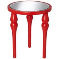 Bailey Poppy Red Round Accent Table