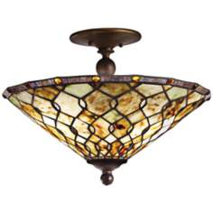 Kichler Woodbury Art Glass and Bronze Ceiling Light