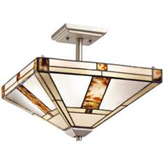 "Kichler Bryce 14"" Wide Art Glass Nickel Ceiling Light"