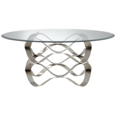 Brushed Silver Waves Round Glass Coffee Table Y7421